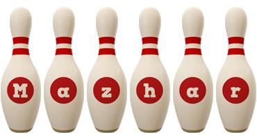 Mazhar bowling-pin logo