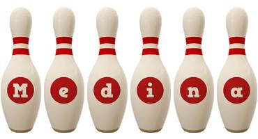 Medina bowling-pin logo