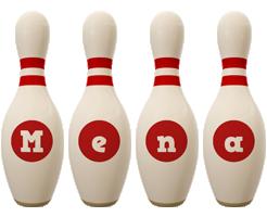 Mena bowling-pin logo