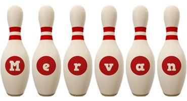 Mervan bowling-pin logo