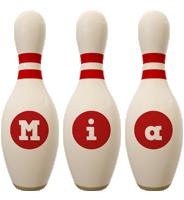 Mia bowling-pin logo