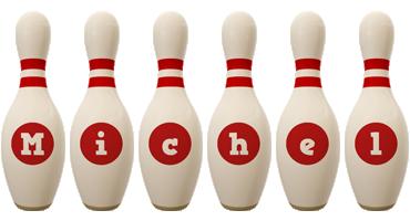 Michel bowling-pin logo