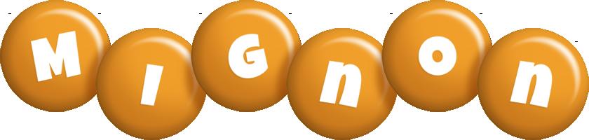 Mignon candy-orange logo