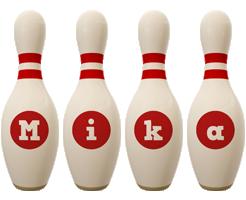Mika bowling-pin logo