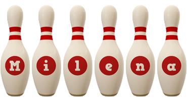 Milena bowling-pin logo