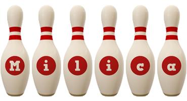 Milica bowling-pin logo