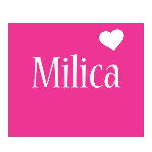 Milica love-heart logo