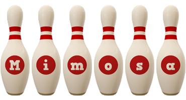Mimosa bowling-pin logo