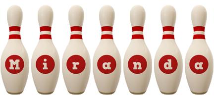 Miranda bowling-pin logo
