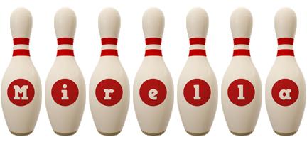 Mirella bowling-pin logo