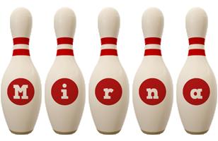 Mirna bowling-pin logo