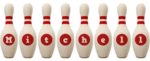 Mitchell bowling-pin logo