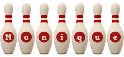 Monique bowling-pin logo