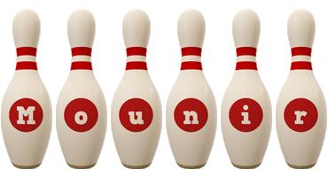 Mounir bowling-pin logo