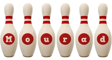 Mourad bowling-pin logo