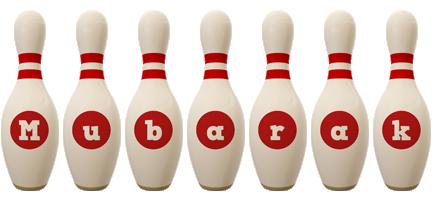 Mubarak bowling-pin logo