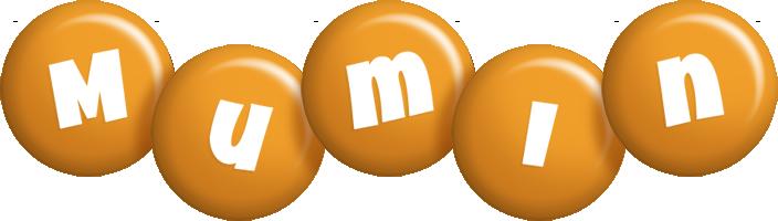 Mumin candy-orange logo
