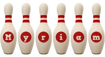 Myriam bowling-pin logo