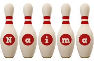Naima bowling-pin logo