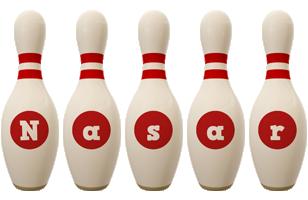 Nasar bowling-pin logo