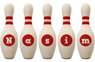 Nasim bowling-pin logo