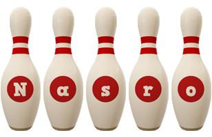 Nasro bowling-pin logo
