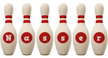 Nasser bowling-pin logo