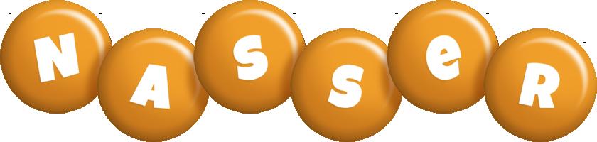 Nasser candy-orange logo