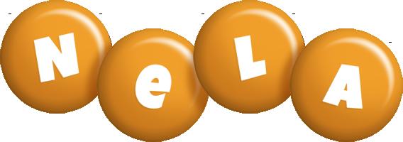 Nela candy-orange logo