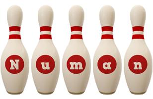 Numan bowling-pin logo