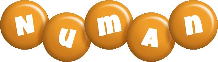 Numan candy-orange logo