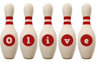 Olive bowling-pin logo