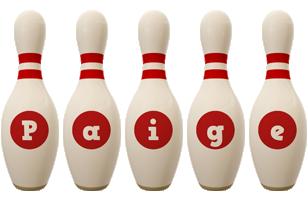 Paige bowling-pin logo