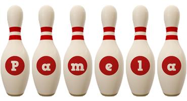 Pamela bowling-pin logo