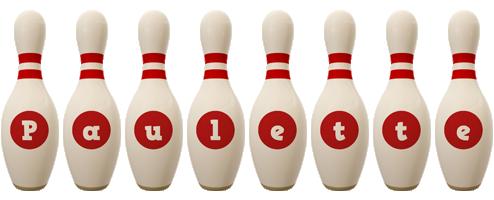 Paulette bowling-pin logo