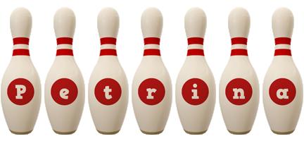 Petrina bowling-pin logo