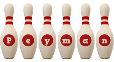 Peyman bowling-pin logo
