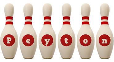 Peyton bowling-pin logo