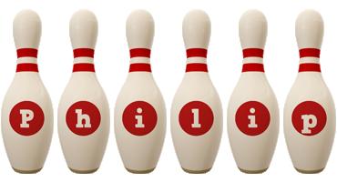 Philip bowling-pin logo