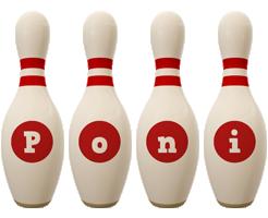 Poni bowling-pin logo