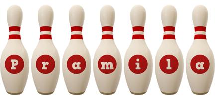 Pramila bowling-pin logo
