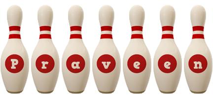 Praveen bowling-pin logo