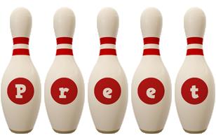 Preet bowling-pin logo