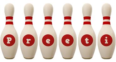 Preeti bowling-pin logo