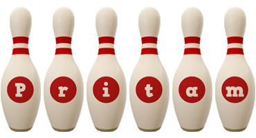 Pritam bowling-pin logo