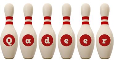 Qadeer bowling-pin logo