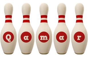 Qamar bowling-pin logo