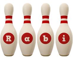 Rabi bowling-pin logo