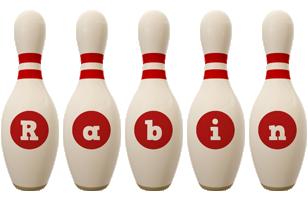 Rabin bowling-pin logo