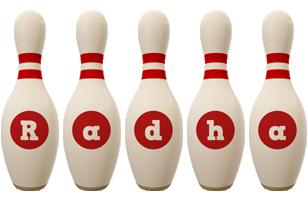 Radha bowling-pin logo